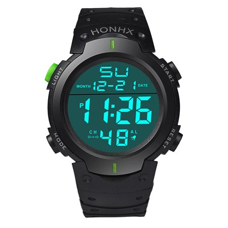 Tuscom Fashion Waterproof Men's Boy LCD Digital Stopwatch Date Rubber Sport Wrist Watch ()