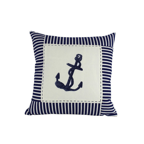 Handcrafted Nautical Decor Anchor Nautical Stripes Decorative Throw Pillow by Handcrafted Model Ships