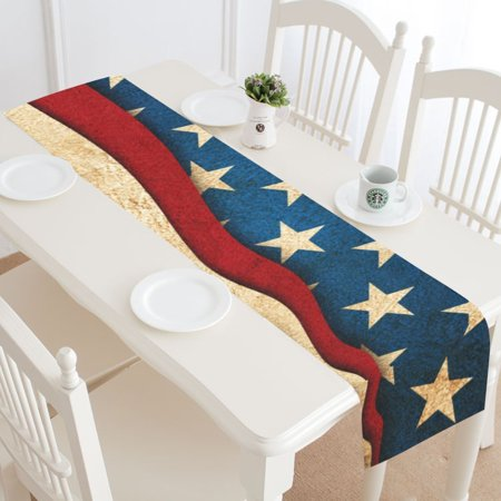 Mypop Vintage American Flag Table Runner Home Decor 14x72 Inch Independence Day 4th Of July