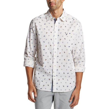 Nautica Mens Big & Tall Printed Classic Fit Button-Down Shirt