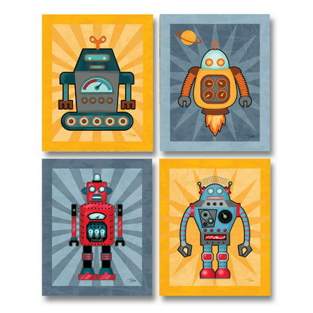 Fun, Cute Yellow Robot Set; Kids Room Decor; Two 11X14 Paper Poster