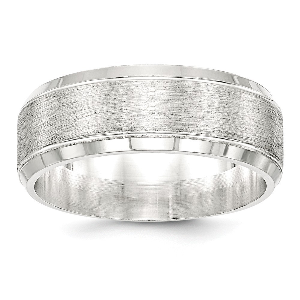 Solid 925 Sterling Silver 8mm Brushed Fancy Wedding Band Ring