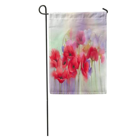 POGLIP Watercolor Red Poppy Flowers Painting Paint in Color and Blur Green Purple Spring Floral Seasonal Nature Garden Flag Decorative Flag House Banner 12x18 inch - image 1 of 2