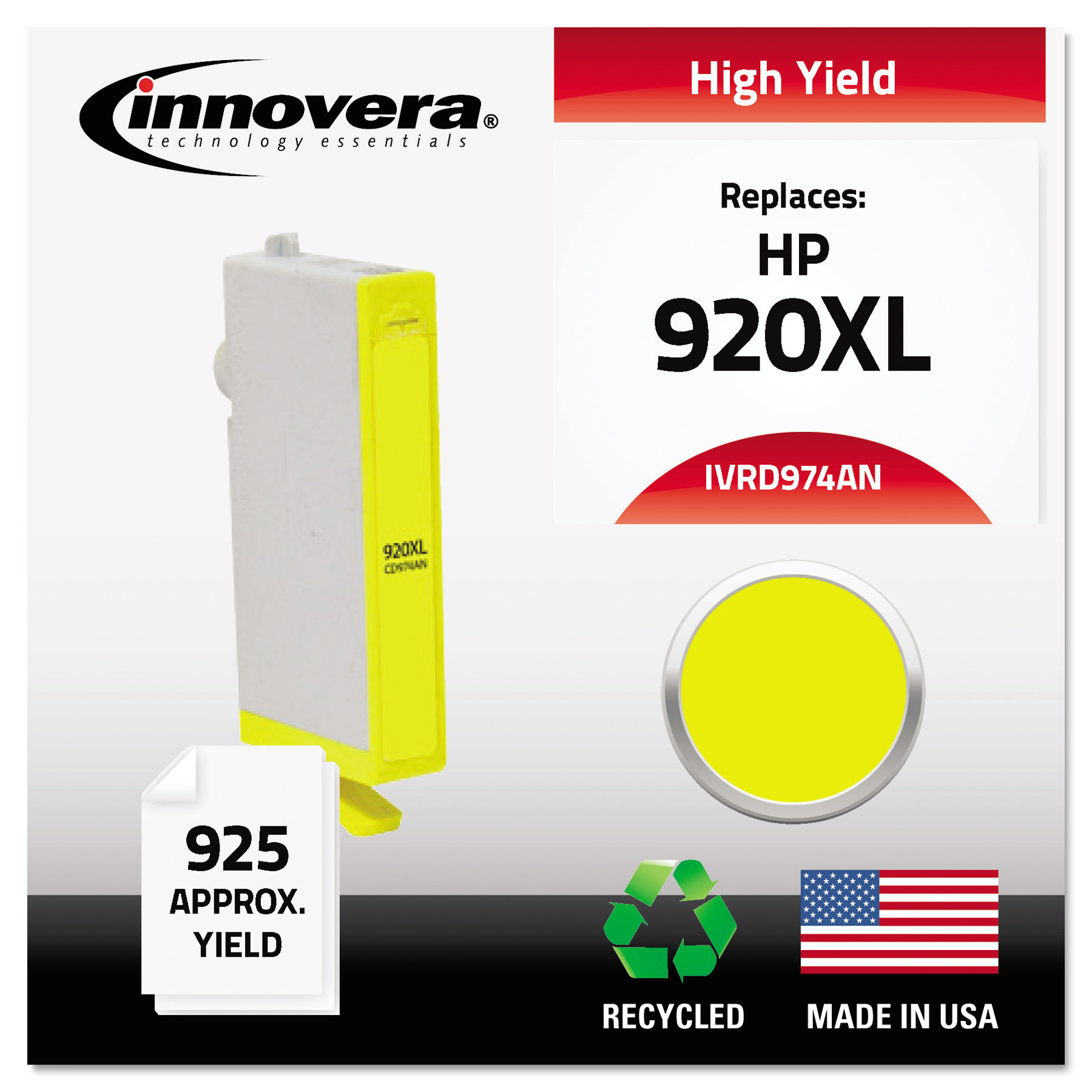 Innovera Remanufactured CD974AN (920XL) High-Yield Chipped Ink, Yellow