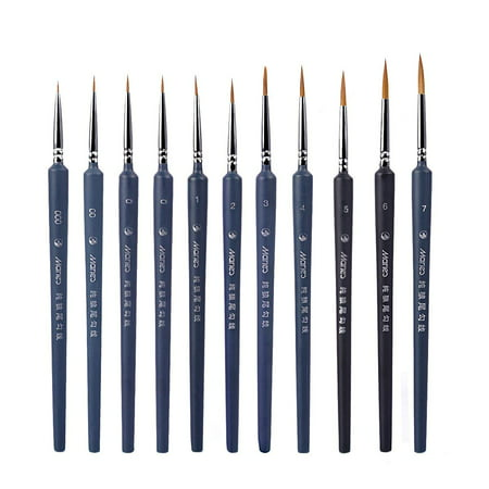 Paint Brushes Set, eZAKKA Paint Detail Brushes Set Fine Detail Paint Brush Miniature Artist Painting Brushes Supplies for Art Watercolor Paintings Acrylic oil, 10 - Art Painting Supplies