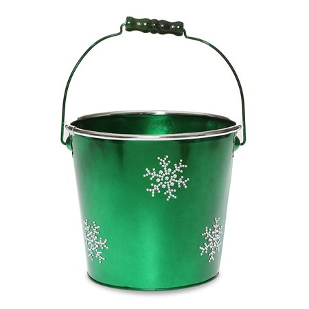 Round metal pail med holiday rhinestone snowflakes 6in for Christmas tin pails