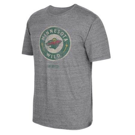 Minnesota Wild Ccm   Bigger Logo   Distressed Premium Tri Blend  T Shirt