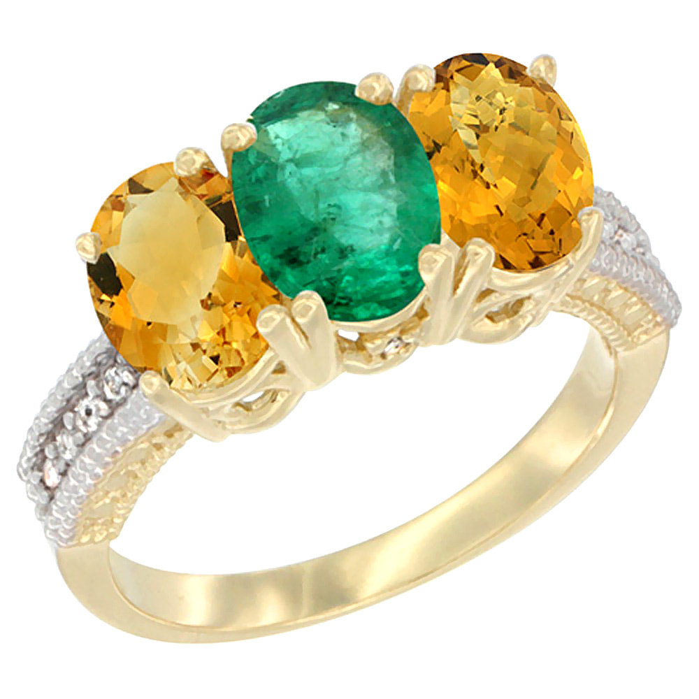 10K Yellow Gold Diamond Natural Citrine, Emerald & Whisky Quartz Ring 3-Stone 7x5 mm Oval, sizes 5 10 by WorldJewels