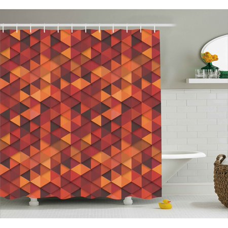 Orange Shower Curtain Abstract Vector Retro Pattern Of Triangles Modern Art Inspired Illustration Fabric