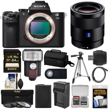 Sony Alpha A7 II Digital Camera Body with Vario-Tessar T* FE 24-70mm f/4 ZA OSS Zoom Lens + 64GB Card + Battery & Charger + Kit