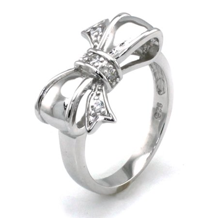 Sterling Silver Cubic Zirconia Cute 3D Bow Infinity Promise (Sterling Bow Ring)