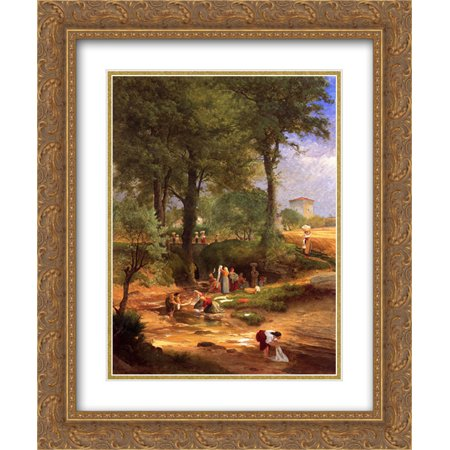 George Inness 2x Matted 20x24 Gold Ornate Framed Art Print 'Washing Day near Perugia'