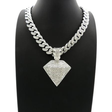- Hip Hop Fashion Iced Out White gold tone Diamond Pendant w/ 18
