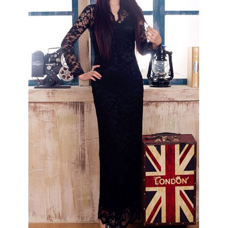 Womens V-Neck Long-Sleeved Full Length Dress Black