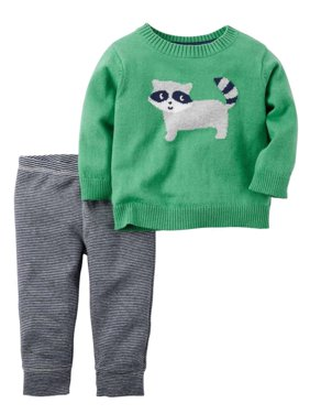 e334567b7 Product Image Carters Infant Boys 2-Piece Green Raccoon Sweater & Striped  Pant Set
