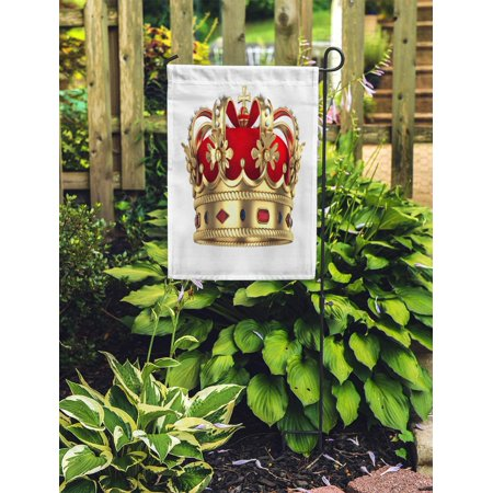 POGLIP Red King Royal Gold Crown Queen Royalty Monarchy Rendered Medieval Garden Flag Decorative Flag House Banner 12x18 inch - image 1 de 2