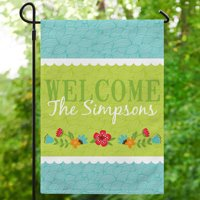 Personalized Floral Garden Flag