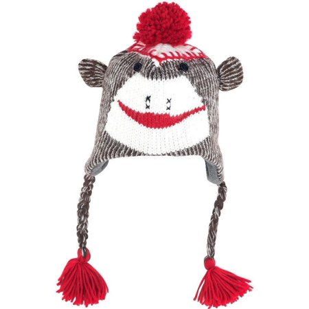 Sock Monkey Ski Style Knit Hat with Poly Fleece Lining - Adult or Teen Size OSFA