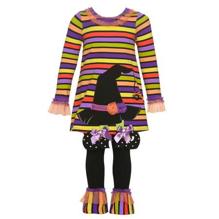 Bonnie Jean Little Girls Black Witch Hat Applique Stripe Halloween Outfit](Bonnie Jean Halloween Outfit)