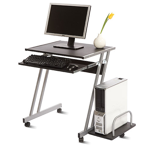 Cambridge Mobile Computer Cart, Black and Silver