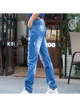f4f81b2c8 Denim Handsome Straight Distressed Jeans In Wash Blue Casual Pants for Men