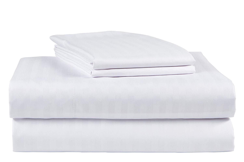 King Size Sage 500 Thread Count 100/% Cotton Sateen Dobby Stripe Sheet Set
