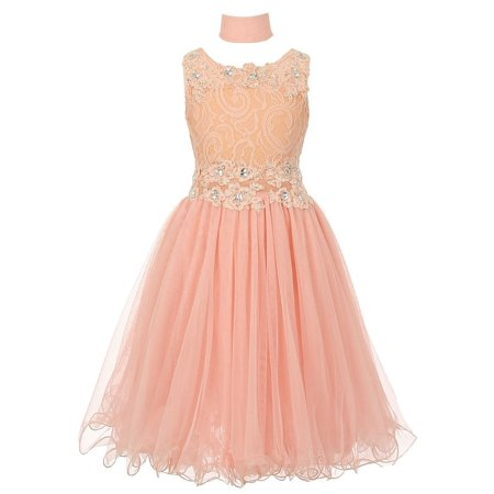 Girls Peach Lace Mesh Rhinestone Wired Flower Girl Dress - Princess Peach Dress
