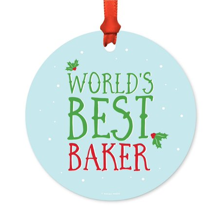 Funny Metal Christmas Ornament, World's Best Baker, Holiday Mistletoe, Includes Ribbon and Gift