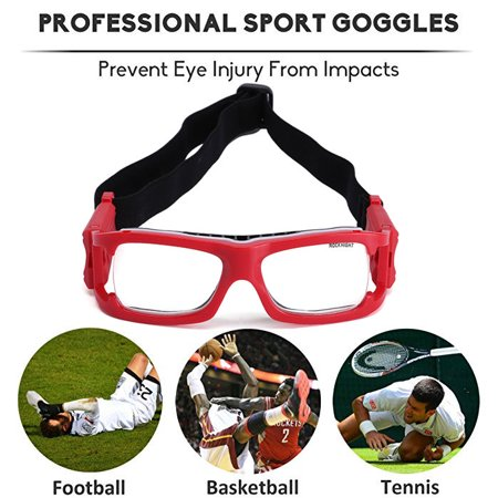 e2a5c9e7918 ROCKNIGHT Sports Goggles Protective Safety Basketball Glasses for Adults  with Adjustable Strap for Basketball Football Volleyball Hockey Rugby (Red)  ...