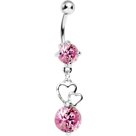 Pink Double Heart Belly Ring Walmart Com