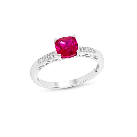 - Sterling Silver Cushion Created Ruby & Created White Sapphire Ring