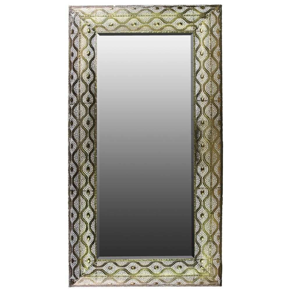 94140 Metal Rectangular Wall Mirror Pierced Metal - Gold