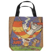 Tom And Jerry Rest And Relaxation Tote Bag White 18X18