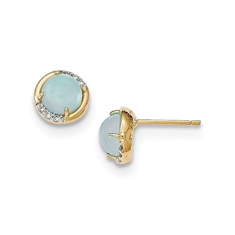 14K Yellow Gold (0.06cttw) Blue Chalcedony and Diamond Post Earrings (9mm x 9mm) by