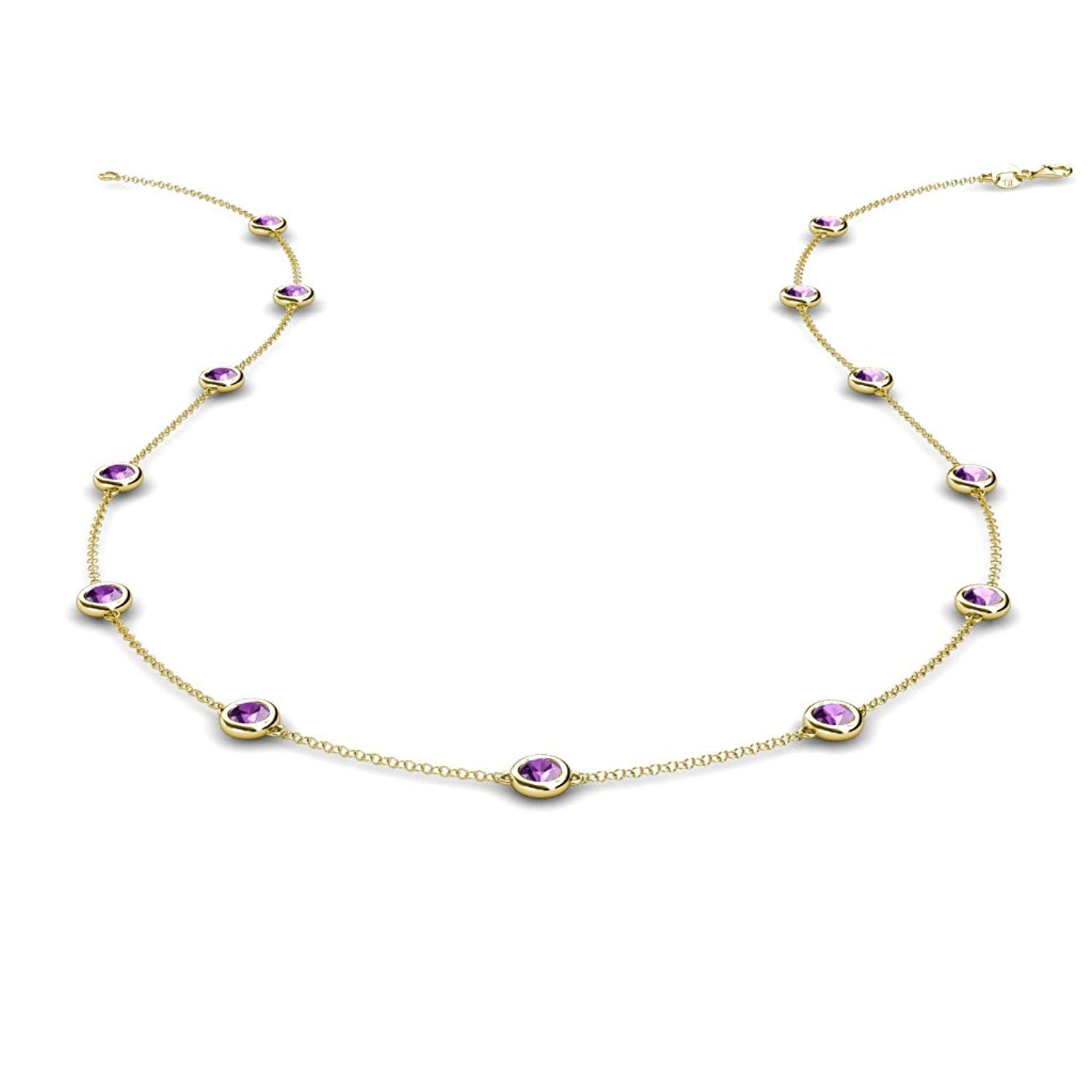 Amethyst 13 Station Necklace 1.04 cttw in 14K Yellow Gold by TriJewels