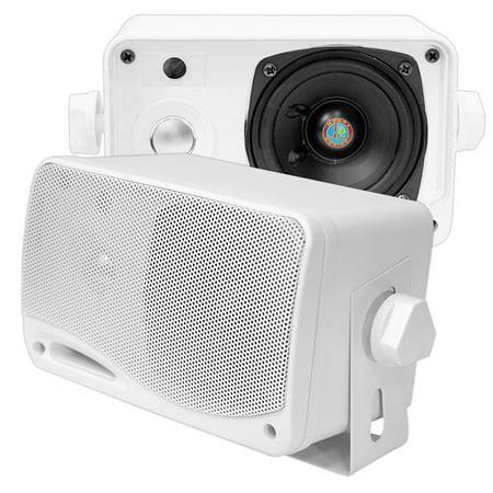 Pyle 3-Way Weatherproof Outdoor Speaker Set 3.5 Inch, 200 Watt Marine Grade Mount Speakers in a Heavy Duty ABS Enclosure Grill ()