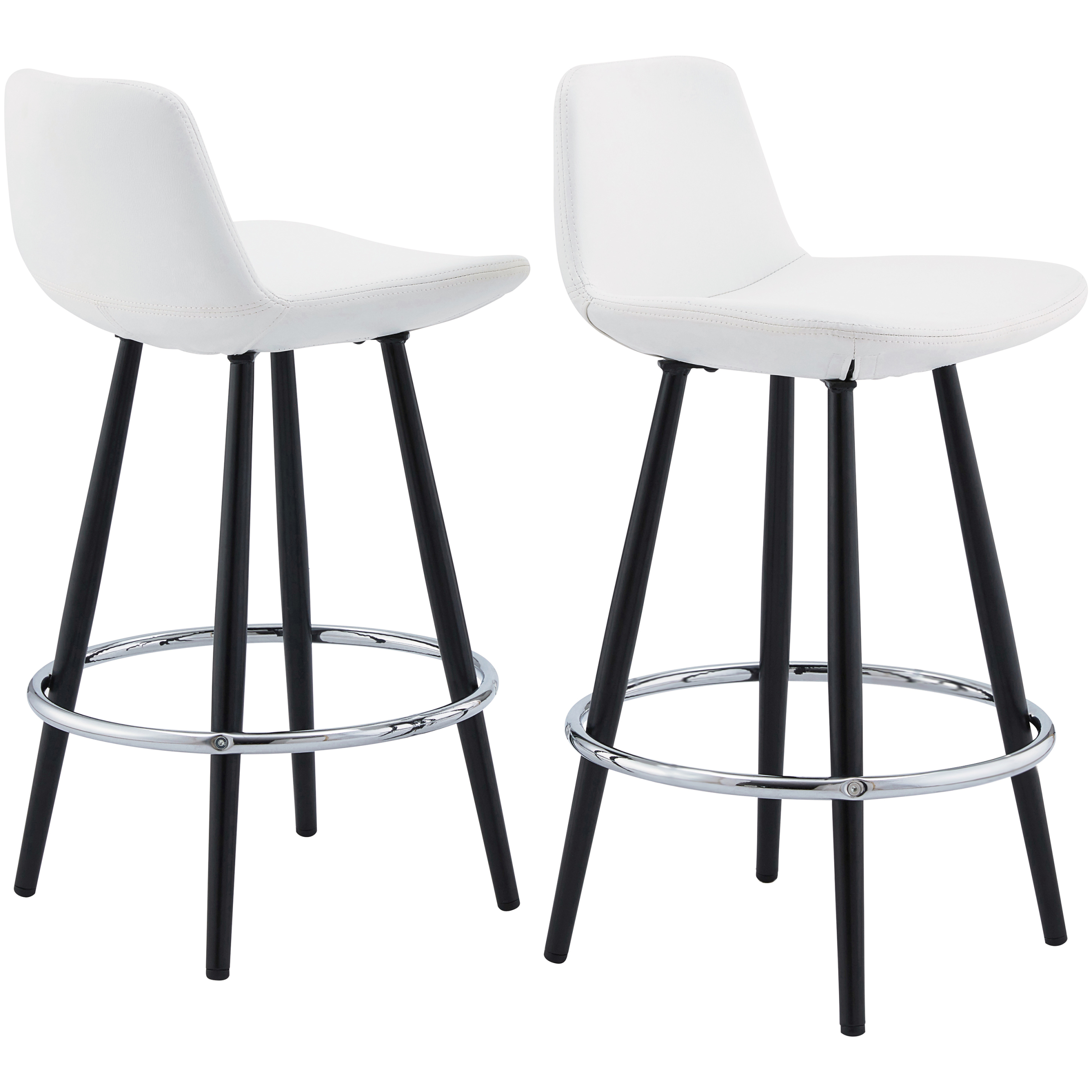 Upholstered Bucket Seat Counter Stool Chair Kitchen Dining Set Of 2