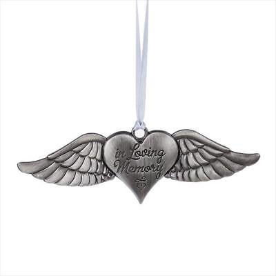 IN LOVING MEMORY Memorial Angel Wings Heart Christmas Ornament, by Midwest CBK ()