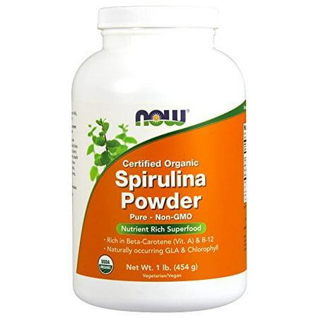 NOW Organic Spirulina Powder,1-Pound, Certified Organic By NOW