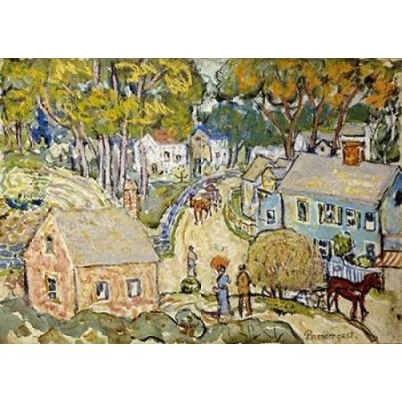 A New England Village Canvas Art - Maurice Brazil Prendergast (20 x 28)
