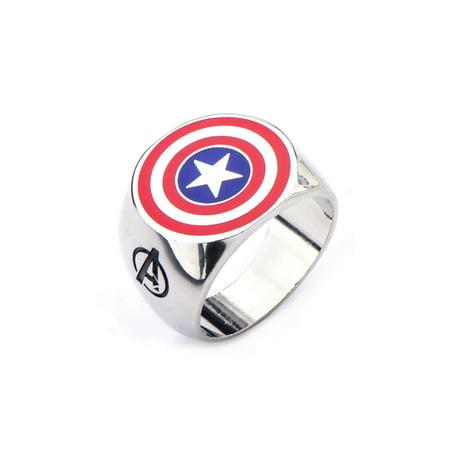 Marvel Avengers Captain America Stainless Steel Ring | 12](Avengers Rings)