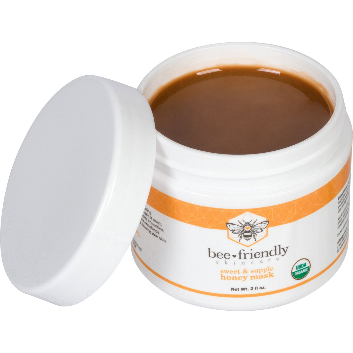 Honey Facial Mask Certified Organic Raw Honey w/French Pink Clay by BeeFriendly, Exfoliating Mask Leaves Skin Soft, Smooth, Youthful, Pulls Impurities, Enhances Collagen Production, Clears