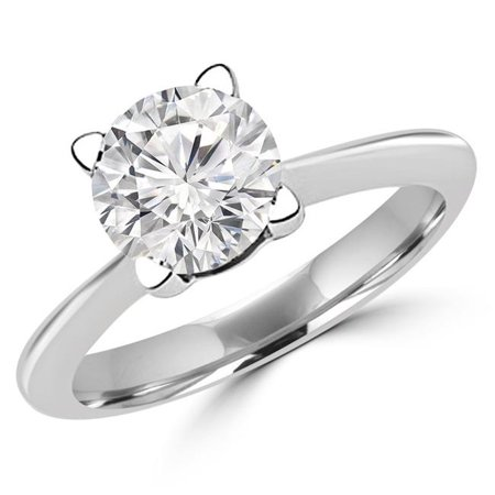 Majesty Diamonds MD180505-4.25 0.37 CT Round Diamond Solitaire Engagement Ring in 14K White Gold - Size 4.25 - image 1 of 1