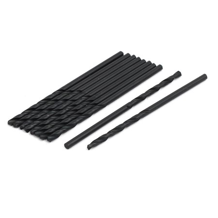 2.4mm Dia 61mm Long HSS Spiral Flute Straight Shank Twist Drill Bit Black 10pcs (Black Spiral)