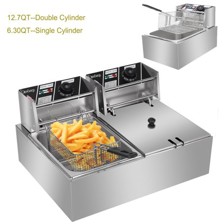 Zimtown 6L/12L Commercial Electric Countertop Stainless Steel Deep Fryer Basket French Fry Restaurant Home