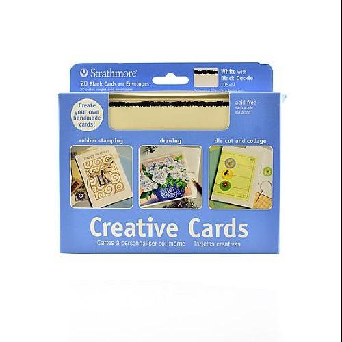 Strathmore 5 x 6.875 White/Black Deckle Creative Cards 20-Pack