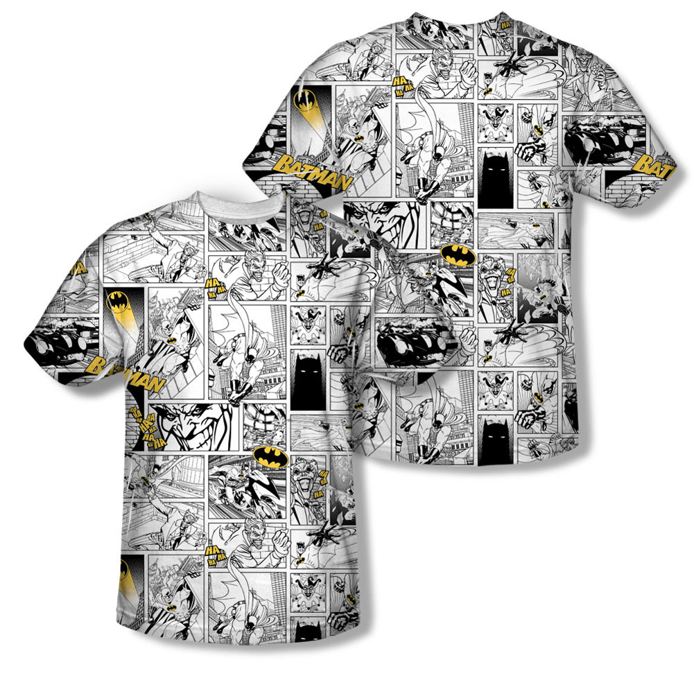 Batman Men's Comic All Over Sublimation T-shirt White by Trevco
