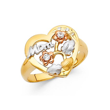 Heart Mom Ring Solid 14k Yellow White Rose Gold CZ Flower Band Love Style Mothers Day Tri Color - Mothers Day Colors