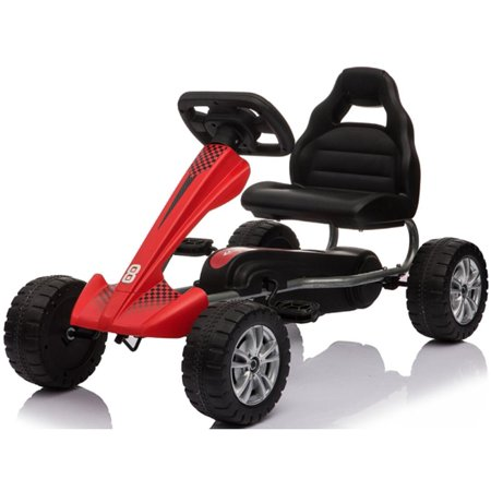 Topbuy 4-Wheel Go Kart Kids Ride On Car Pedal Powered Racer Toy w/ Adjustable Seat Red (Race Go Cart)