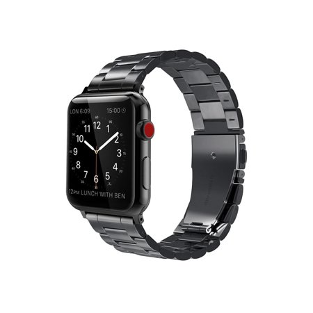 For Apple Watch Band 44mm Solid Stainless Steel Metal Replacement Wrist Bands for Apple Watch Series 4/3/2/1 Black